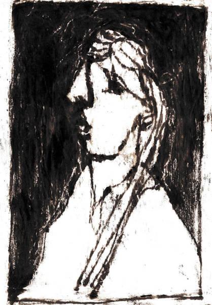 Drawing - Black Side Portrait by Artist Dot
