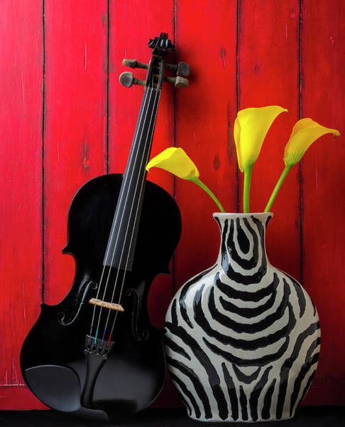 Wall Art - Photograph - Black Violin And Striped Vase by Garry Gay