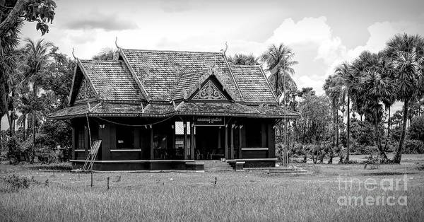 Wall Art - Photograph - Black White Architecture Cambodian Off Roads  by Chuck Kuhn