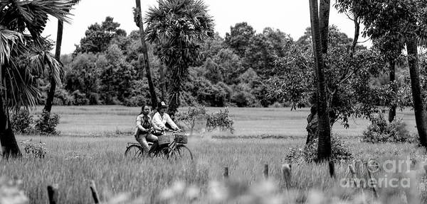 Wall Art - Photograph - Black White Couple Asia Motorcycle Fields  by Chuck Kuhn