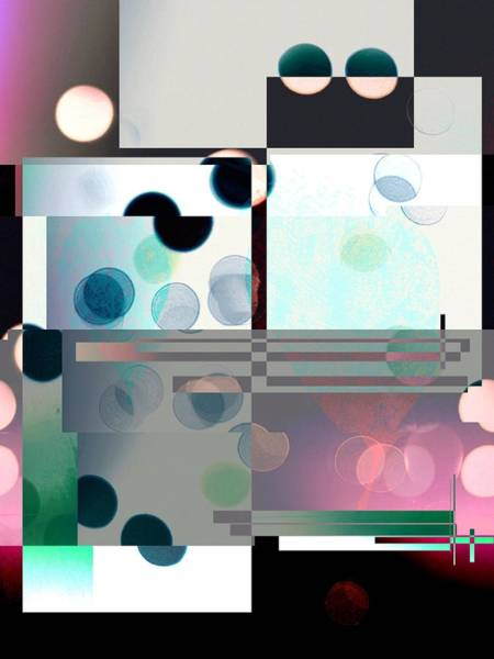 Digital Art - Black White Pink Rose Abstract Rectangles And Circles, Image 142, by Itsonlythemoon -