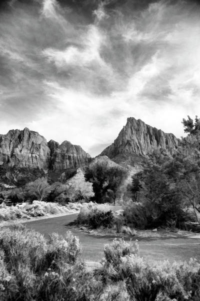Wall Art - Photograph - Black White Zion National Park  by Chuck Kuhn