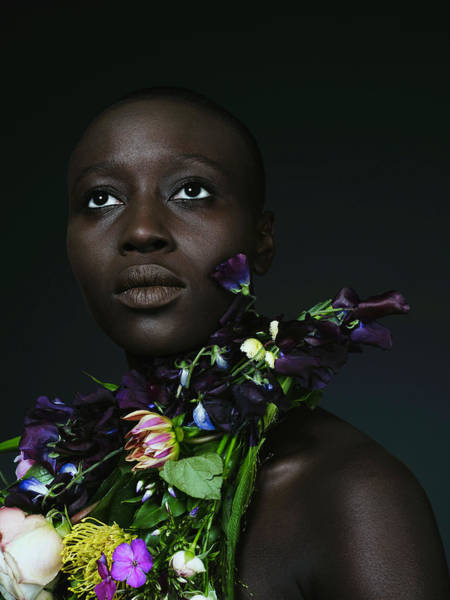 Shaved Head Photograph - Black Woman With Garland Of Flowers by Patrick Ryan