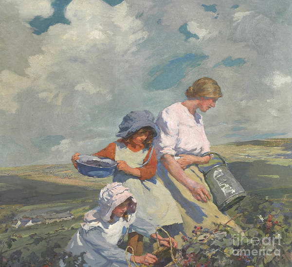 Wall Art - Painting - Blackberry Gathering by Elizabeth Adela Stanhope Forbes