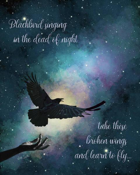 Wall Art - Digital Art - Blackbird Singing With Lyrics by Nikki Marie Smith
