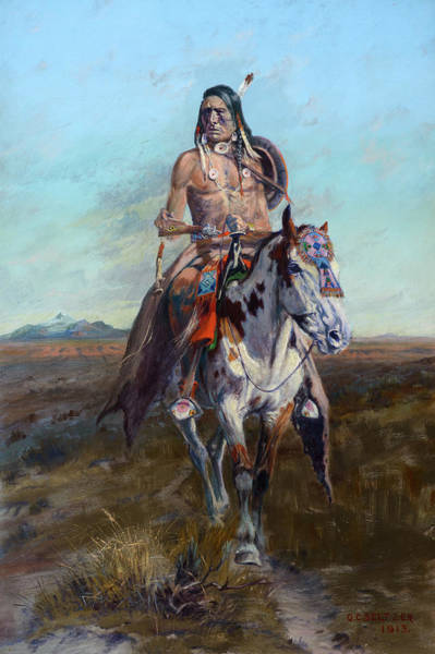 Wall Art - Painting - Blackfoot Scout, 1913 by Olaf Seltzer