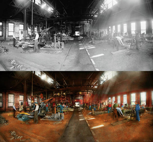 Photograph - Blacksmith - Forging Ahead 1905 - Side By Side by Mike Savad
