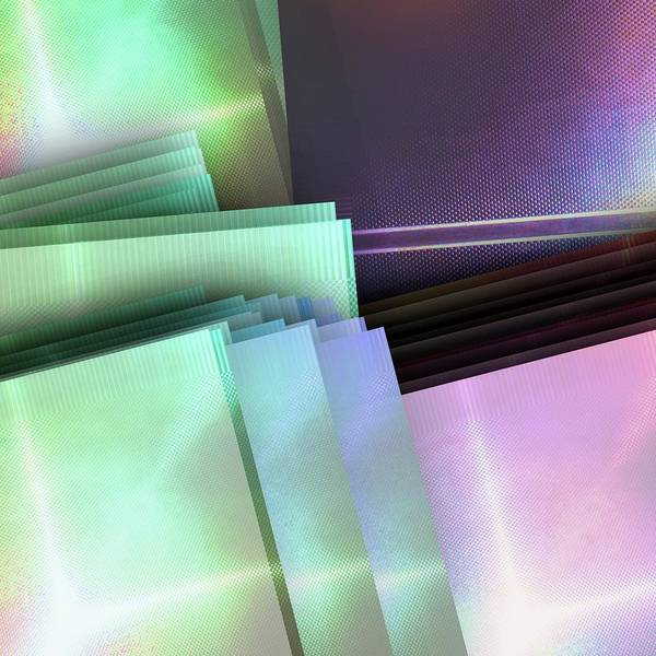 Fashion Plate Digital Art - Blank Reflective Aluminum Plates. Blue, Pink And Purple. Fashion Abstract Background. by Rudy Bagozzi
