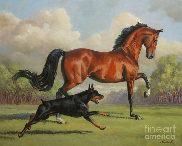 Doberman Wall Art - Painting - Blaze And Grace by Jeanne Newton Schoborg