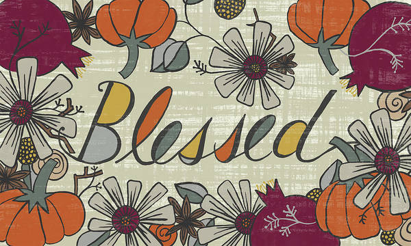 Painting - Blessed Fall Art Cream Background by Jen Montgomery