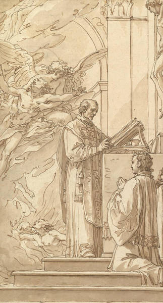 Drawing - Blessed Francis Venimbeni Celebrating Mass For Souls In Purgatory by Giuseppe Cades