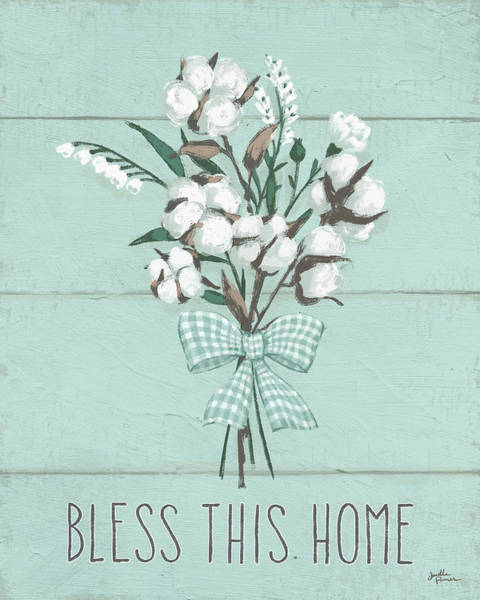 Cotton Painting - Blessed II Mint by Janelle Penner