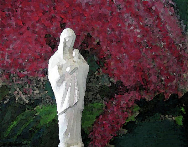 Mixed Media - Blessed Mother And Jesus By Flowering Tree by Corinne Carroll