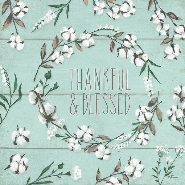 Cotton Painting - Blessed Vi Mint by Janelle Penner