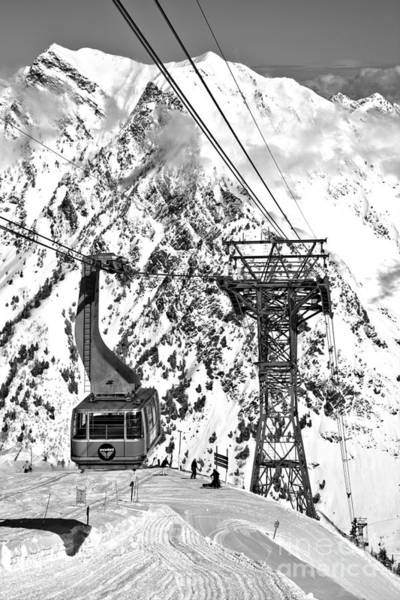 Photograph - Blie Snowbird Tram Car Portrait Black And White by Adam Jewell