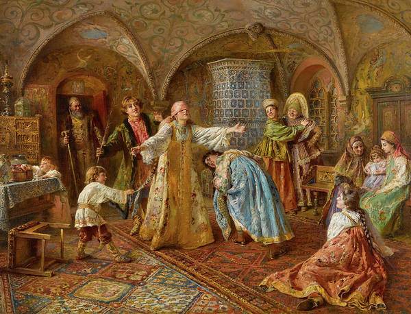 Wall Art - Painting - Blind Man's Bluff by Konstantin Makovsky