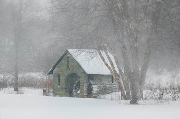 Photograph - Blizzard - Morris Arboretum Mill by Bill Cannon