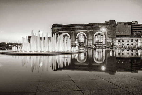 Photograph - Bloch Fountain At Union Station - Downtown Kansas City Sepia by Gregory Ballos