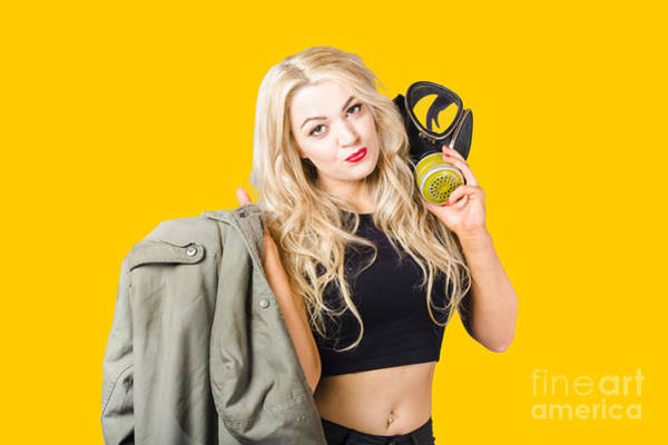 Radioactive Photograph - Blond Pin Up Woman Holding Gasmask. Nuclear Pinups by Jorgo Photography - Wall Art Gallery