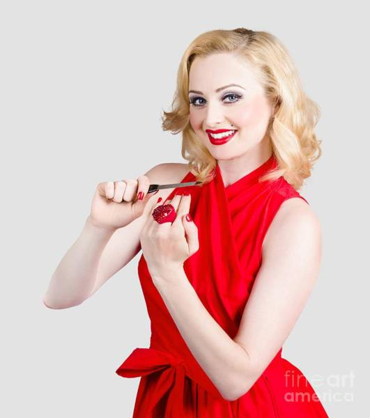 Manicure Wall Art - Photograph - Blond Pinup Woman In Red Dress Making Manicure by Jorgo Photography - Wall Art Gallery