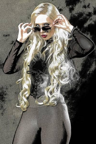Sunglasses Painting - Blonde Girl by ArtMarketJapan