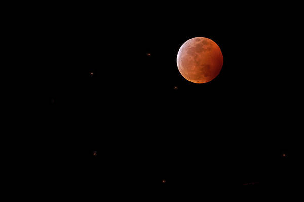 Photograph - Blood Moon And Stars H1932 by Mark Myhaver