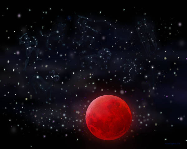 Digital Art - Blood Moon And Stars by Kevin Middleton