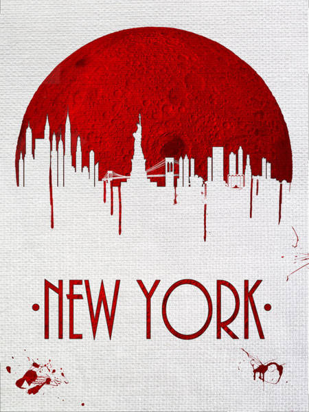 City Scape Digital Art - Blood Moon Over New York by Tim Palmer