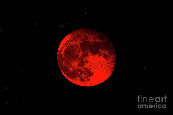 Blood Red Wolf Supermoon Eclipse 873a Art Print