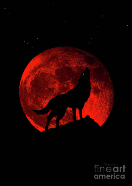 Photograph - Blood Red Wolf Supermoon Eclipse 873j by Ricardos Creations