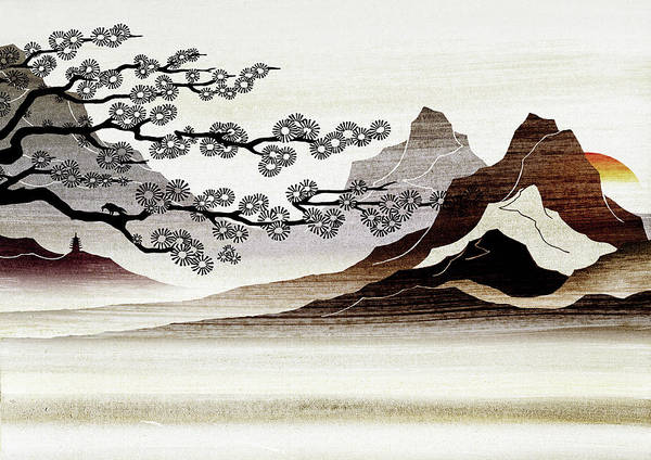 Remote Digital Art - Blooming Tree And Mountains by Nick Purser