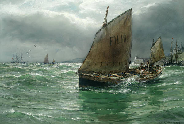 Wall Art - Painting - Blowing Hard Off St Mawes by Arthur Wilde Parsons