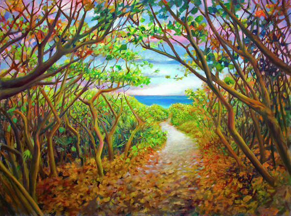 Wall Art - Painting - Blowing Rocks Path To Ocean On Jupiter Island by Nancy Tilles