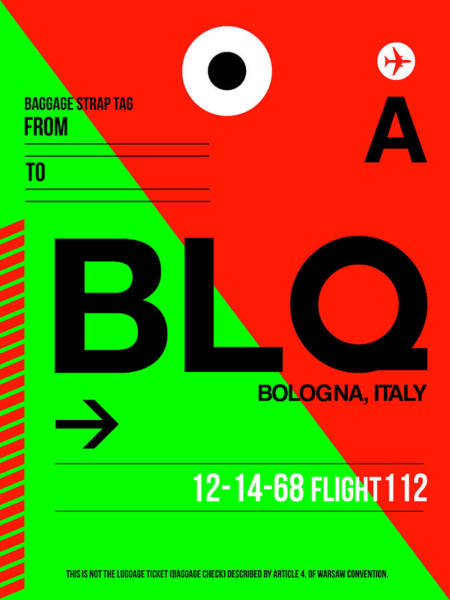 Wall Art - Digital Art - Blq Bologna Luggage Tag I by Naxart Studio