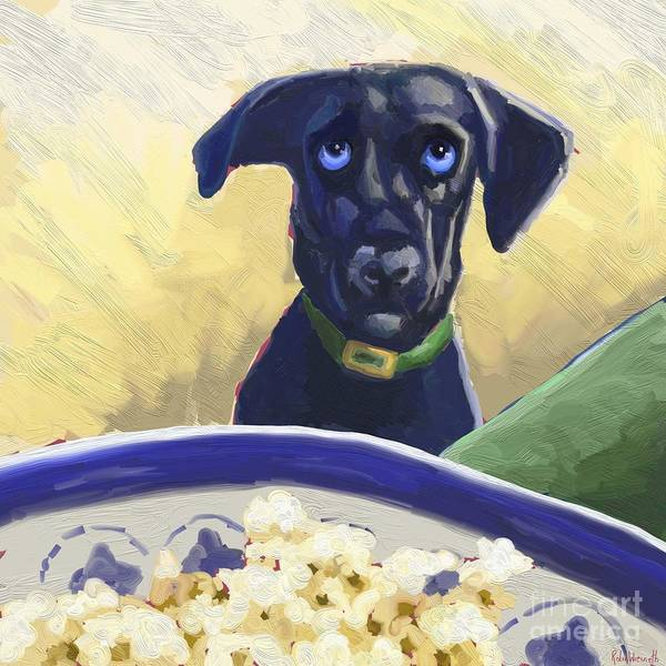 Wall Art - Digital Art - Blu Loves Popcorn by Robin Wiesneth