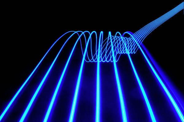 Laser Photograph - Blue Abstract Coloured Lights Trails by John Rensten