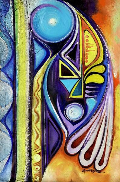 Painting - Blue Abstract by Olumide Egunlae
