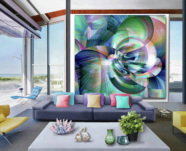 Wall Art - Digital Art - Blue Abstraction--artwork In Situ by Grace Iradian