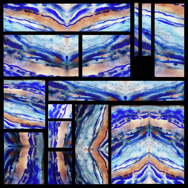 Painting - Blue Agate Mosaic Watercolor Collage by Irina Sztukowski