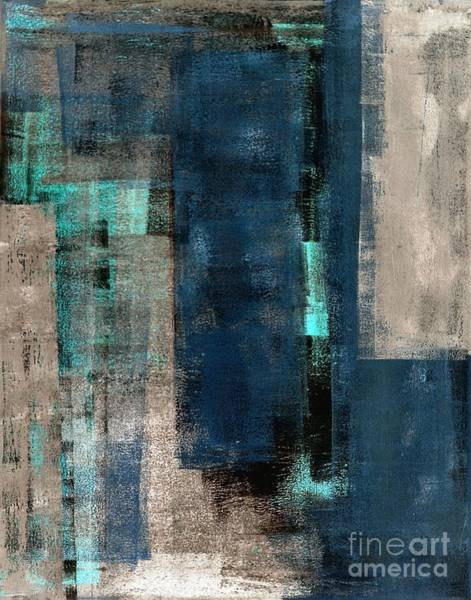 Gallery Wall Wall Art - Digital Art - Blue And Beige Abstract Art Painting by T30 Gallery