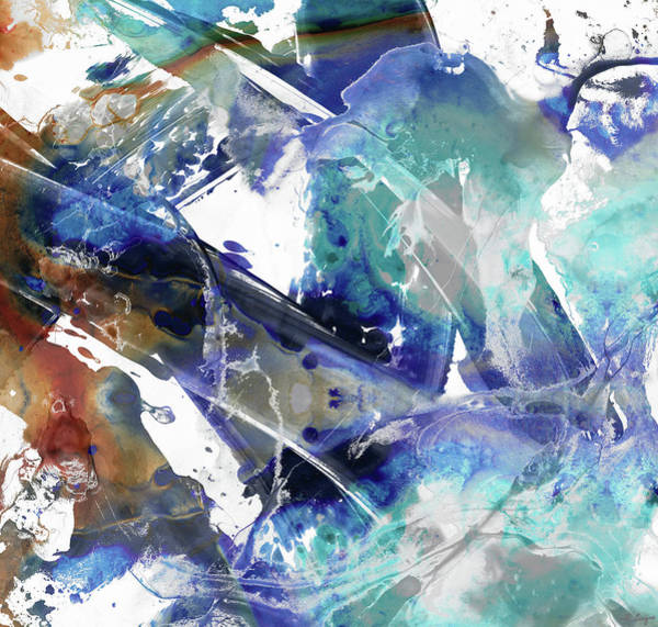 Painting - Blue And Brown Abstract Art - Rush - Sharon Cummings by Sharon Cummings