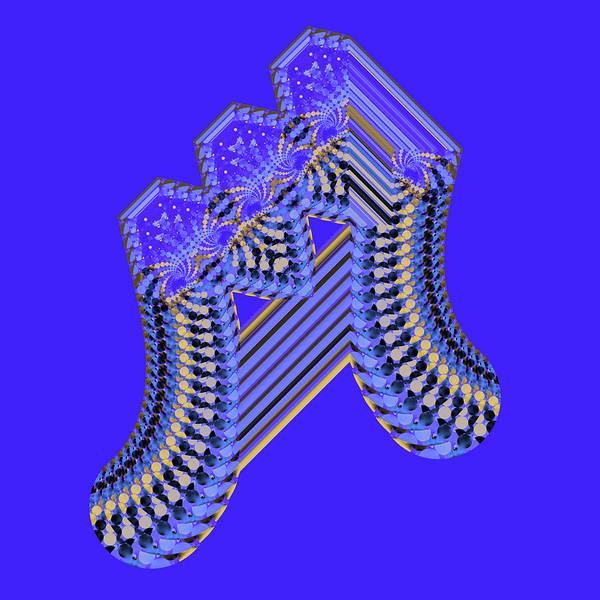 Digital Art - Blue And Gold Fractal Geometic by Judi Suni Hall