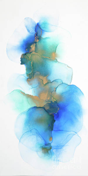 Painting - Blue And Gold Petals Abstract by Alissa Beth Photography
