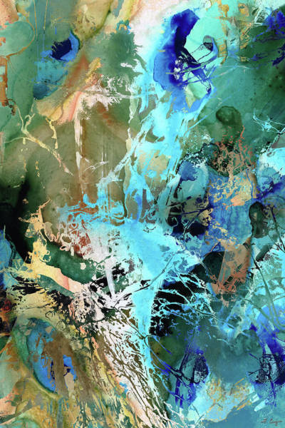 Painting - Blue And Green Abstract Art - Waterfall - Sharon Cummings by Sharon Cummings