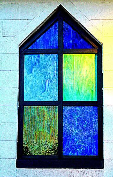 Photograph - Blue And Green Window by Cynthia Guinn