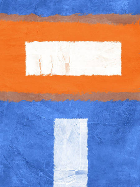 Wall Art - Painting - Blue And Orange Abstract Theme II by Naxart Studio