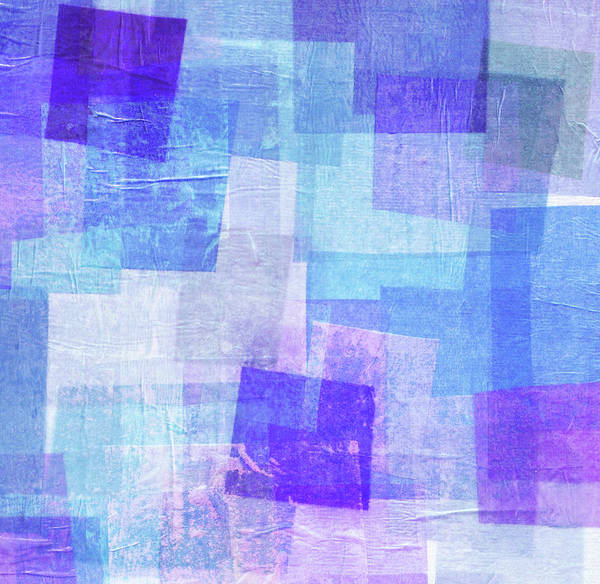 Blue Background Photograph - Blue And Purple Tissue Paper Collage by Qweek