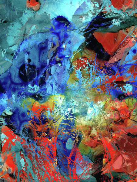 Painting - Blue And Red Abstract - No Limits - Sharon Cummings by Sharon Cummings