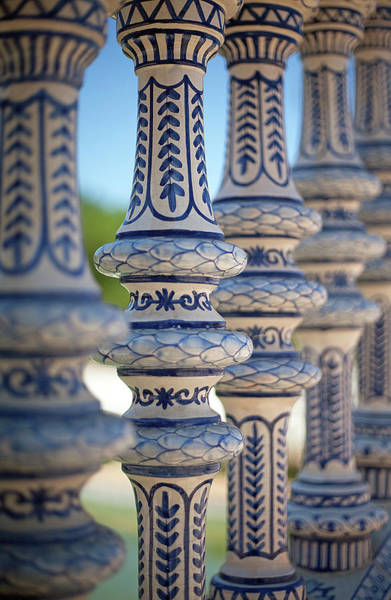 Repetition Photograph - Blue And White Ceramic Fence by Kim Haddon Photography