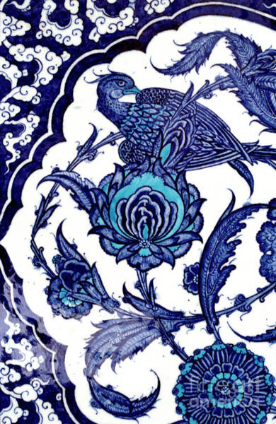 Wall Art - Ceramic Art - Blue And White Ceramic Tile Detail With Bird And Floral Pattern From Topkapi Palace by Turkish School
